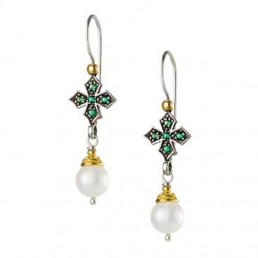 Gerochristo P1438N ~ Sterling Silver & Stones Medieval Dangle Cross Earrings