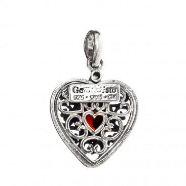 Gerochristo P1566N ~ Sterling Silver & Zircon Heart Pendant