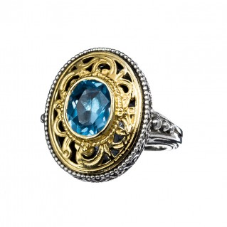 Gerochristo P2362N ~ Sterling Silver Medieval-Byzantine Large Oval Ring