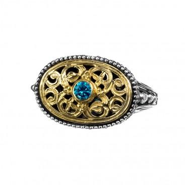 Gerochristo P2374N ~ Sterling Silver & Zircon Medieval-Byzantine Oval Ring