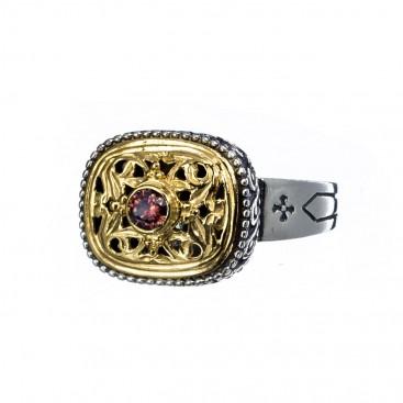 Gerochristo P2380N ~ Sterling Silver Medieval-Byzantine Single Stone Ring