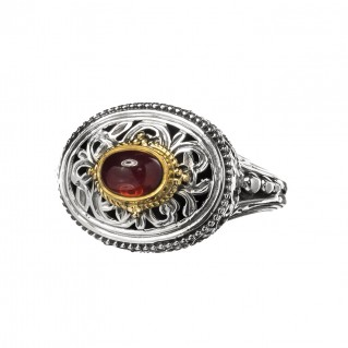 Gerochristo P2394N ~ Sterling Silver Medieval-Byzantine Single Stone Ring