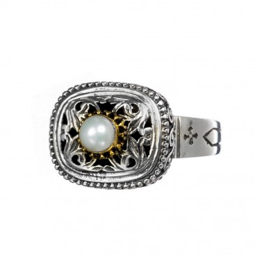 Gerochristo P2398N ~ Sterling Silver Medieval-Byzantine Single Stone Ring