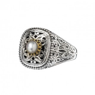 Gerochristo P2400N ~ Sterling Silver Medieval-Byzantine Single Stone Ring