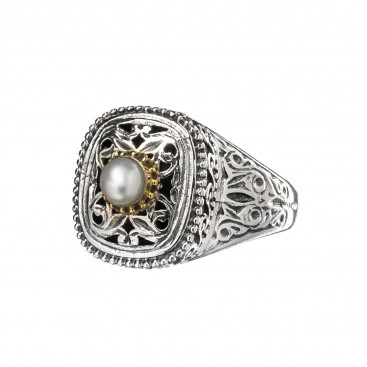 Gerochristo P2400N ~ Sterling Silver Medieval-Byzantine Single Stone Ring