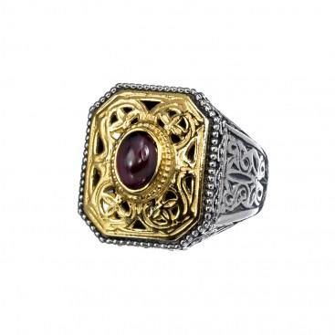 Gerochristo P2408N ~ Sterling Silver & Garnet Medieval-Byzantine Chevalier Ring