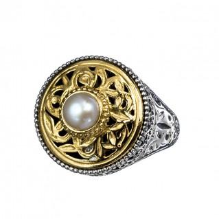 Gerochristo P2412N ~ Sterling Silver Medieval-Byzantine Single Stone Round Ring