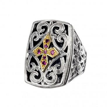 Gerochristo P2433N ~ Sterling Silver & Zircon Medieval-Byzantine Cross Ring