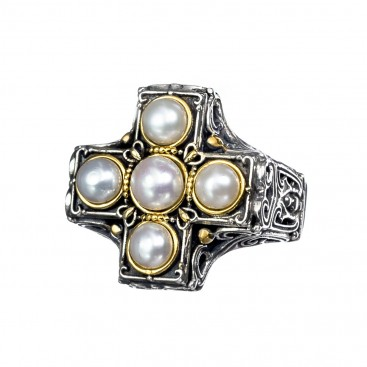 Gerochristo P2437N ~ Sterling Silver & Pearls Byzantine Cross Ring