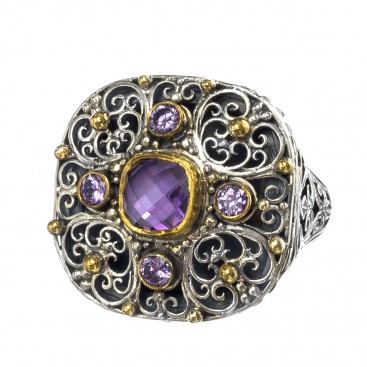 Gerochristo P2638N ~ Sterling Silver Medieval - Byzantine Cocktail Ring