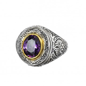 Gerochristo P2698N ~ Sterling Silver & Zircon Medieval-Byzantine Chevalier Ring