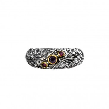 Gerochristo P2813N ~ Sterling Silver & Zircon Medieval Floral Band Ring
