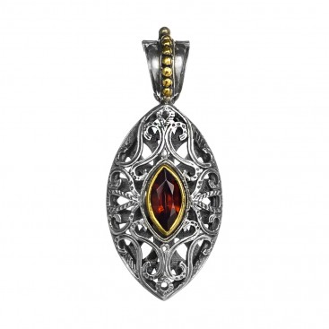 Gerochristo P3262N ~ Sterling Silver & Zircon Stone Medieval-Byzantine Large Pendant