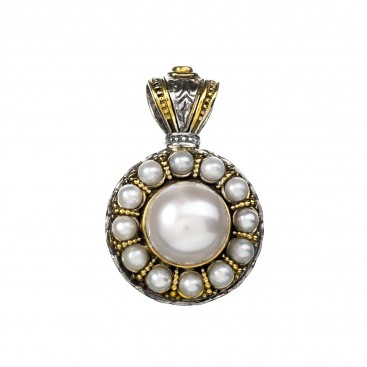 Gerochristo P3266N ~ Sterling Silver Medieval-Byzantine Pendant with Pearls