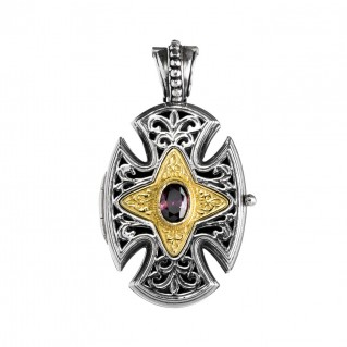 Gerochristo P5217N ~ Sterling Silver Maltese Locket Cross Pendant with Zircon