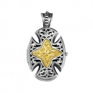 Gerochristo P5218N ~ Sterling Silver Maltese Locket Cross Pendant