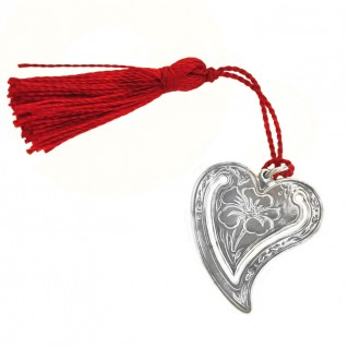 Gerochristo 9008 ~ Sterling Silver Heart Bookmark with Tassel