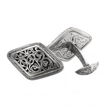 Gerochristo 7025N ~ Sterling Silver Medieval Byzantine Large Filigree Cufflinks