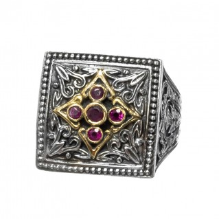 Gerochristo 2235N ~ Solid Gold, Silver & Rubies - Medieval Byzantine Cocktail Ring