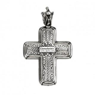 Gerochristo 5304N ~ Sterling Silver & Garnet Medieval-Byzantine Cross Pendant