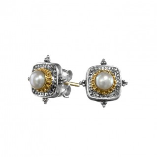 Gerochristo 1087N ~ Solid Gold and Sterling Silver Byzantine Medieval Stud Earrings