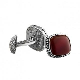 Gerochristo 7060N ~ Sterling Silver & Carnelian Medieval-Byzantine Cufflinks