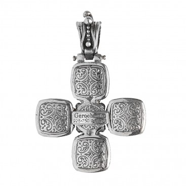 Gerochristo 5528N ~ Sterling Silver & Pearl Byzantine-Medieval Doublet Cross Pendant