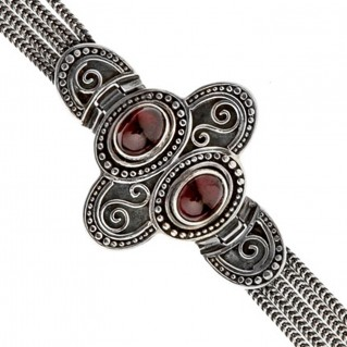Savati Sterling Silver with Garnet Multi Chain Byzantine Bracelet