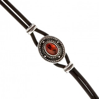 Savati Sterling Silver and Rubber Bracelet with Amber
