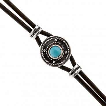 Savati Sterling Silver and Rubber Bracelet with Turquoise
