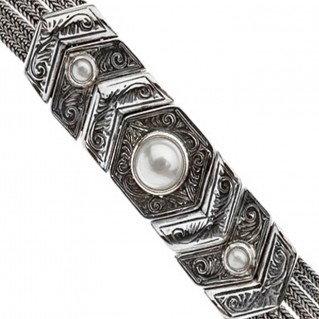 Savati Sterling Silver Multi Chain Byzantine Bracelet with Stones