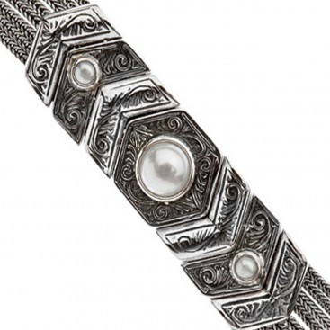 Savati Sterling Silver Multi Chain Byzantine Bracelet with Pearls