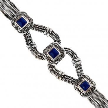 Savati Sterling Silver with Lapis Multi Chain Byzantine Bracelet
