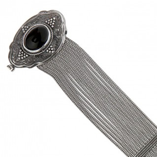 Savati Sterling Silver Multi Chain Byzantine Bracelet with Onyx
