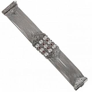 Savati Sterling Silver and Garnet Byzantine Multi Chain Bracelet
