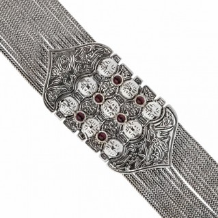 Savati Sterling Silver and Garnet Byzantine Multi Chain Bracelet