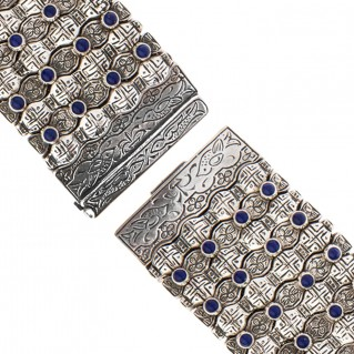Savati Sterling Silver Byzantine Large Bangle Bracelet with Lapis