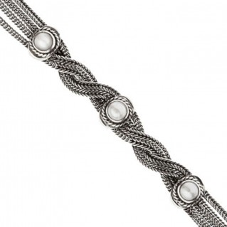 Savati Sterling Silver with Pearls Multi Chain Byzantine Bracelet