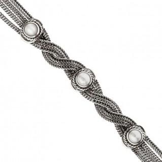 Savati Sterling Silver with Pearls Multi Chain Byzantine Bracelet