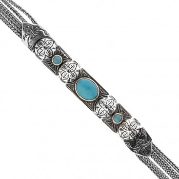 Savati Sterling Silver Multi Chain Byzantine Bracelet with Turquoise