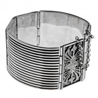Savati Sterling Silver Large Byzantine-Medieval Bangle Bracelet