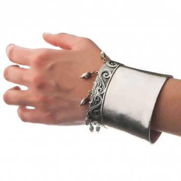 Savati Sterling Silver Large Cuff Bracelet with Charms