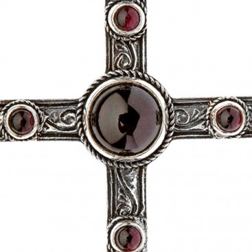 Savati Sterling Silver Large Byzantine Budded Cross Pendant with Garnet