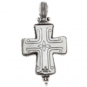 Savati Sterling Silver Large Byzantine Reliquary Cross Pendant
