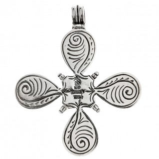 Savati Sterling Silver with Garnet Byzantine Large Cross Pendant
