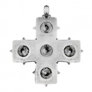 Savati Sterling Silver Byzantine Greek Cross Pendant with Rosettes