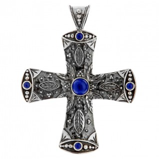Savati Large Sterling Silver Ornate Cross Pendant with Lapis