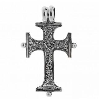 Savati Sterling Silver Byzantine Engraved Cross Pendant