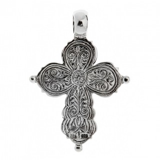 Savati Sterling Silver Large Byzantine Crucifix Cross Pendant