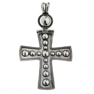 Savati Sterling Silver Large Byzantine Cross Pendant with Raised Dots